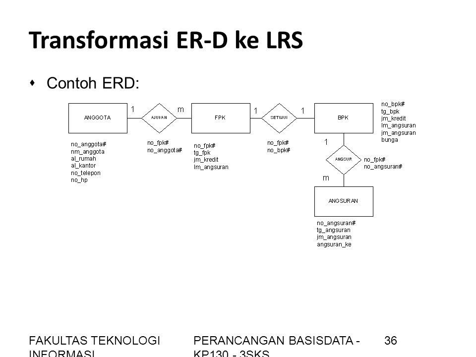 Transformasi ER-D ke LRS sContoh ERD: FAKULTAS TEKNOLOGI INFORMASI PERANCANGAN BASISDATA - KP130 - 3SKS 36