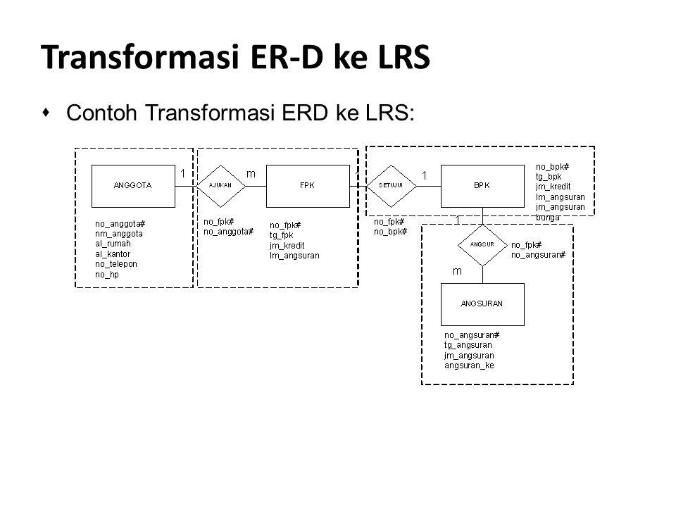 Transformasi ER-D ke LRS sContoh Transformasi ERD ke LRS: