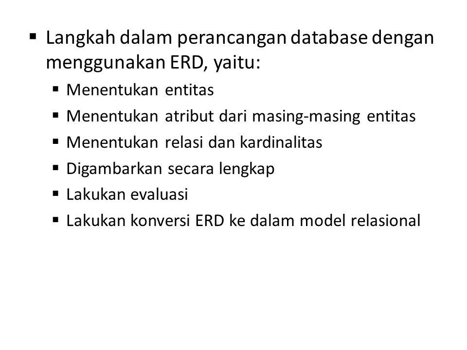  Langkah dalam perancangan database dengan menggunakan ERD, yaitu:  Menentukan entitas  Menentukan atribut dari masing-masing entitas  Menentukan