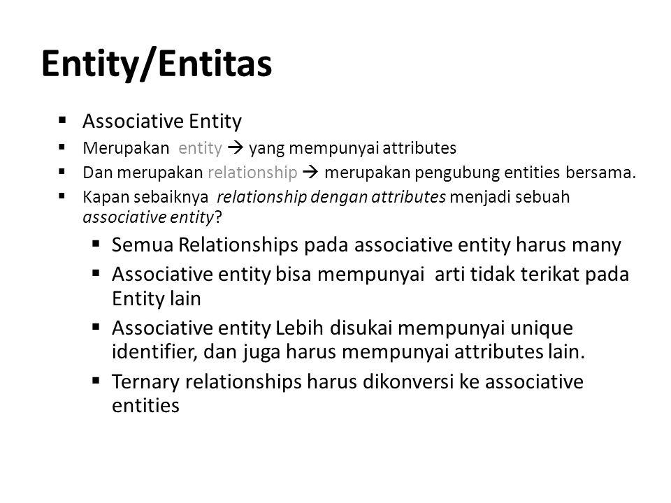 Entity/Entitas  Associative Entity  Merupakan entity  yang mempunyai attributes  Dan merupakan relationship  merupakan pengubung entities bersama