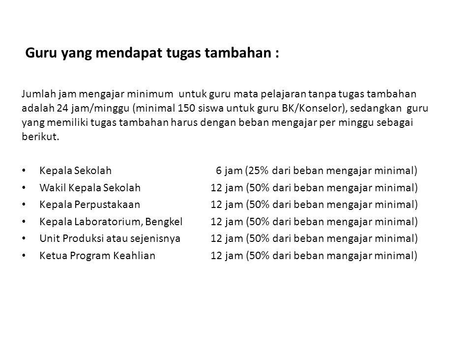 Guru yang mendapat tugas tambahan : Jumlah jam mengajar minimum untuk guru mata pelajaran tanpa tugas tambahan adalah 24 jam/minggu (minimal 150 siswa