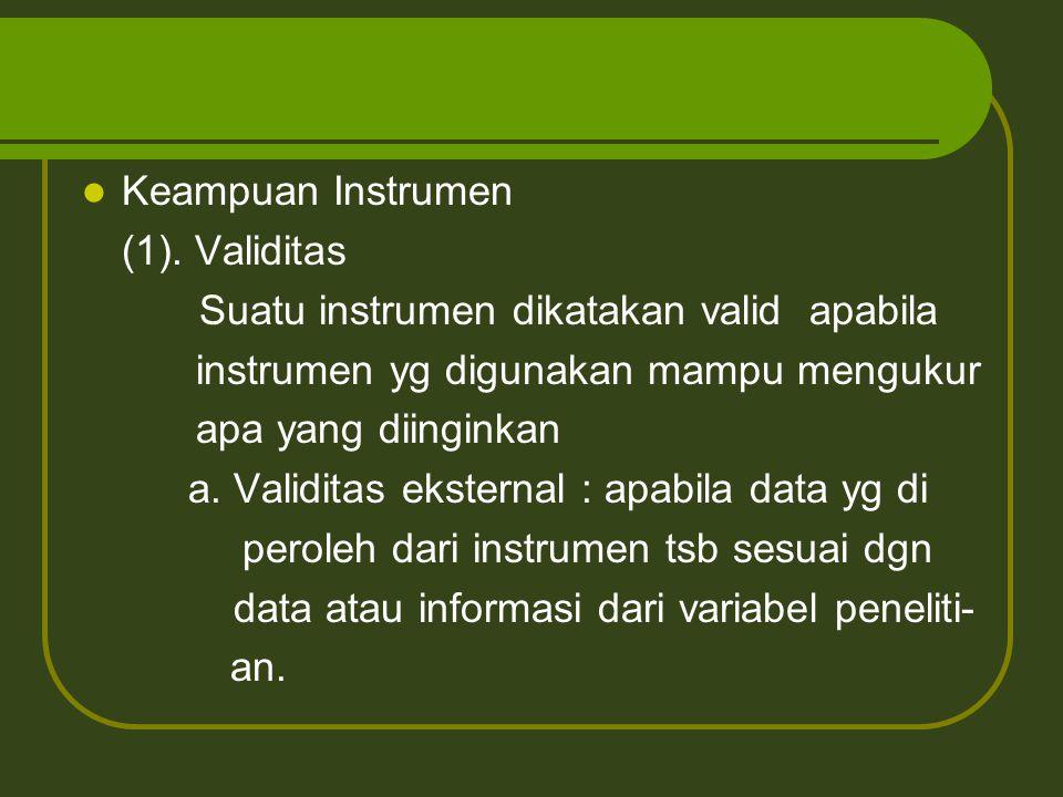 Keampuan Instrumen (1). Validitas Suatu instrumen dikatakan valid apabila instrumen yg digunakan mampu mengukur apa yang diinginkan a. Validitas ekste