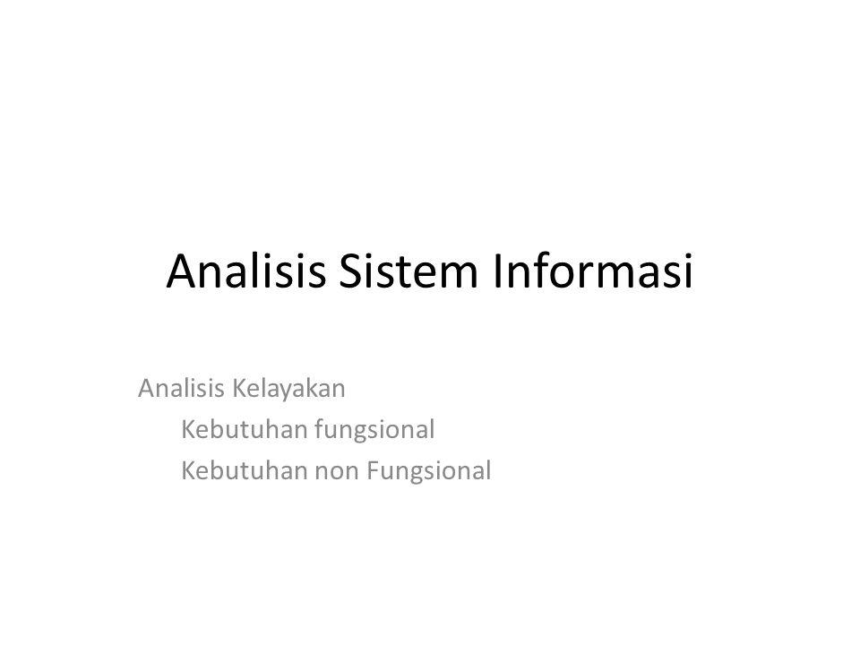 Analisis Sistem Informasi Analisis Kelayakan Kebutuhan fungsional Kebutuhan non Fungsional