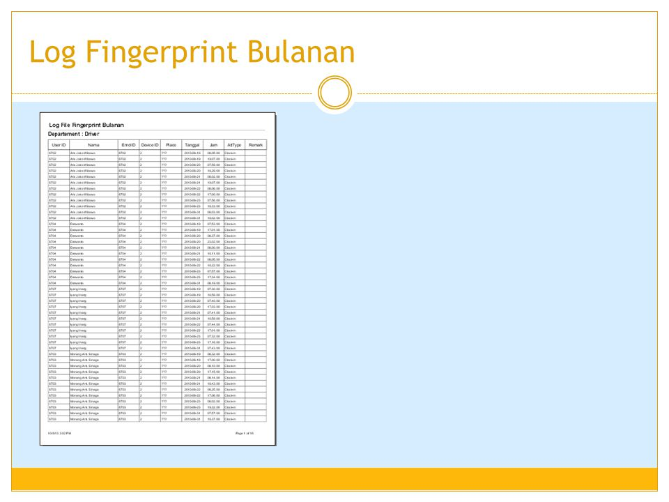 Log Fingerprint Bulanan