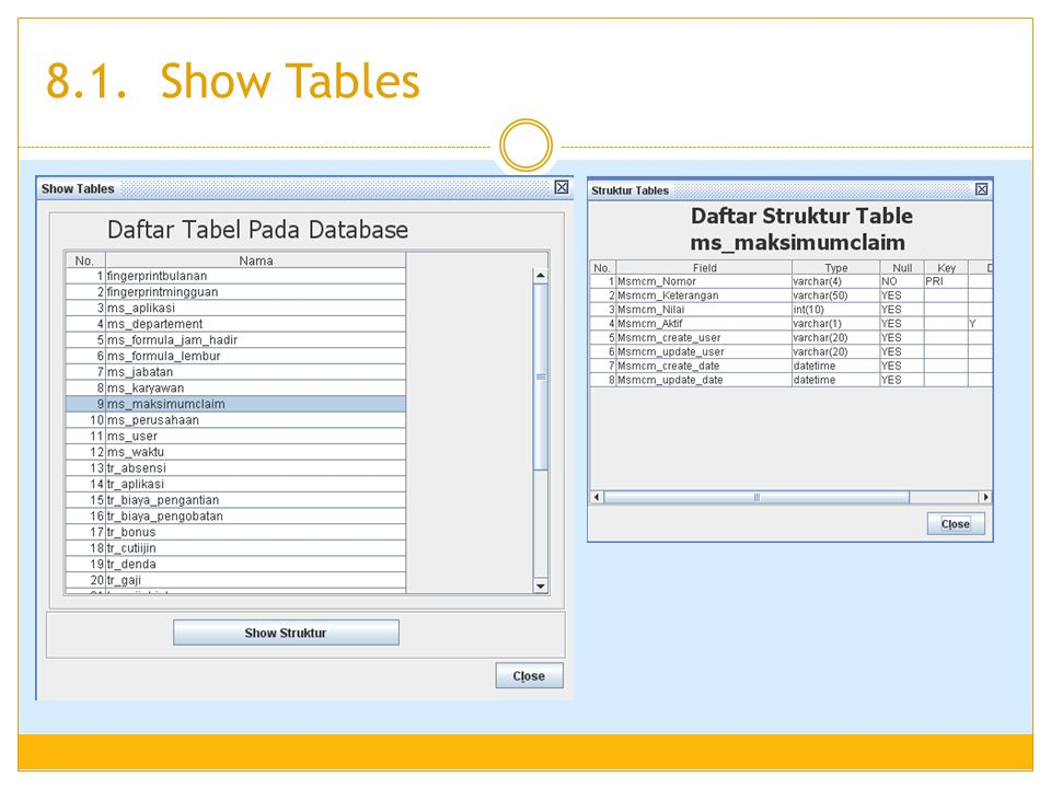 8.1. Show Tables