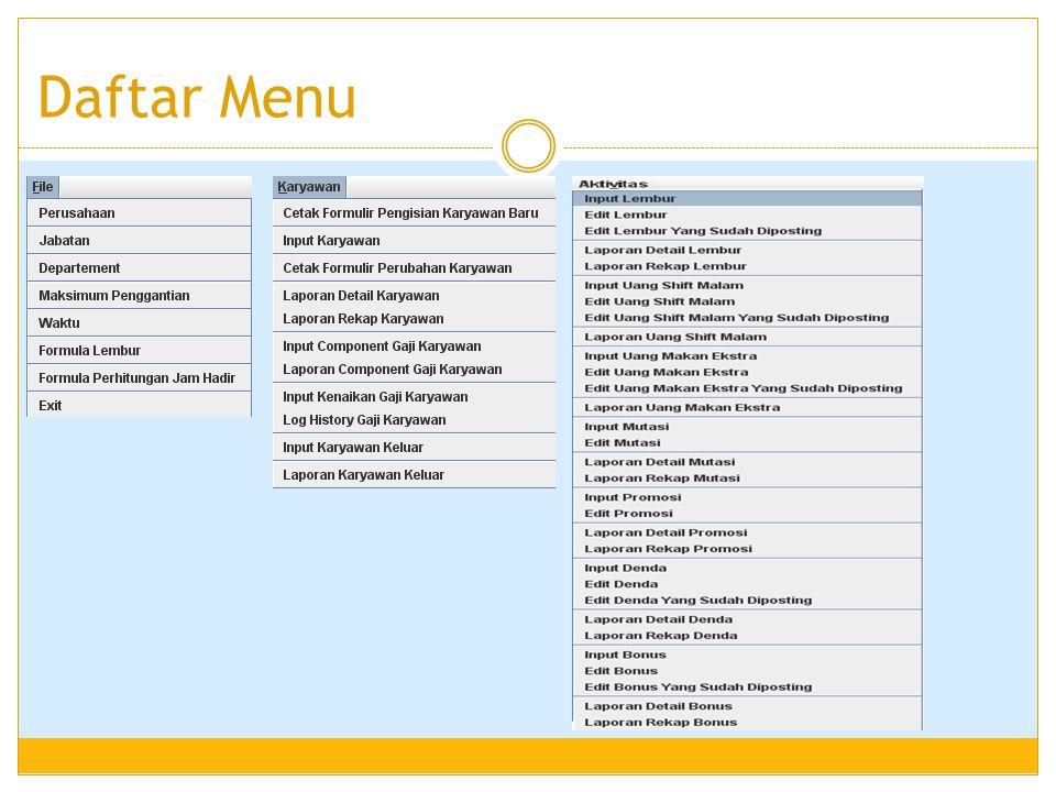 Laporan Rekap Schedule Karyawan