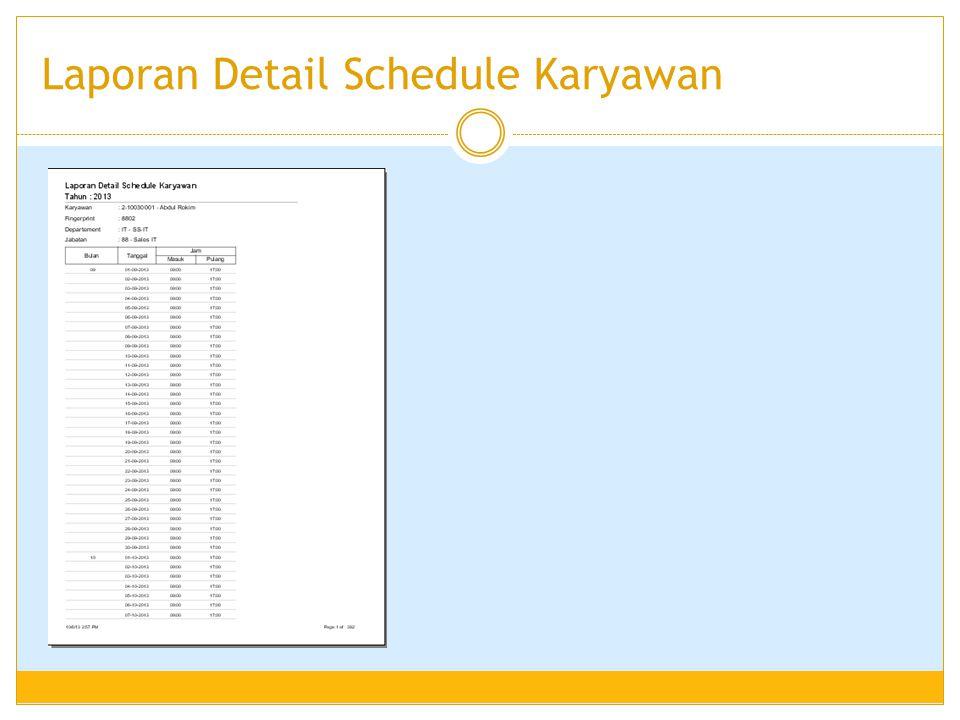 Laporan Detail Schedule Karyawan