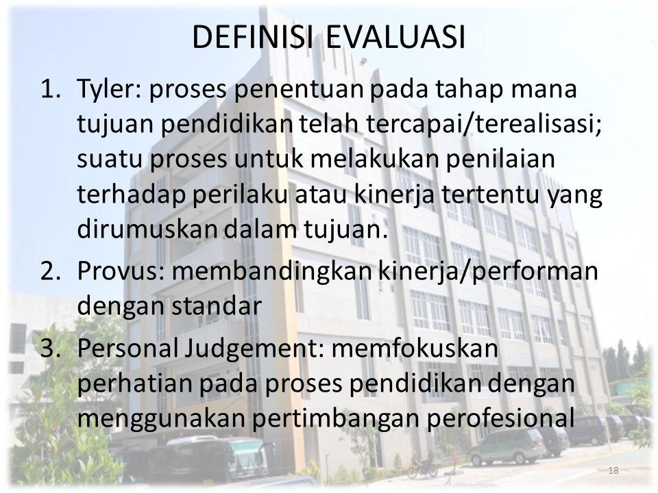 DEFINISI EVALUASI 1.Tyler: proses penentuan pada tahap mana tujuan pendidikan telah tercapai/terealisasi; suatu proses untuk melakukan penilaian terha