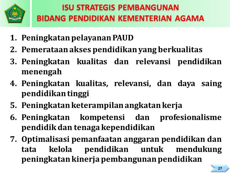 1.Peningkatan pelayanan PAUD 2.Pemerataan akses pendidikan yang berkualitas 3.Peningkatan kualitas dan relevansi pendidikan menengah 4.Peningkatan kua