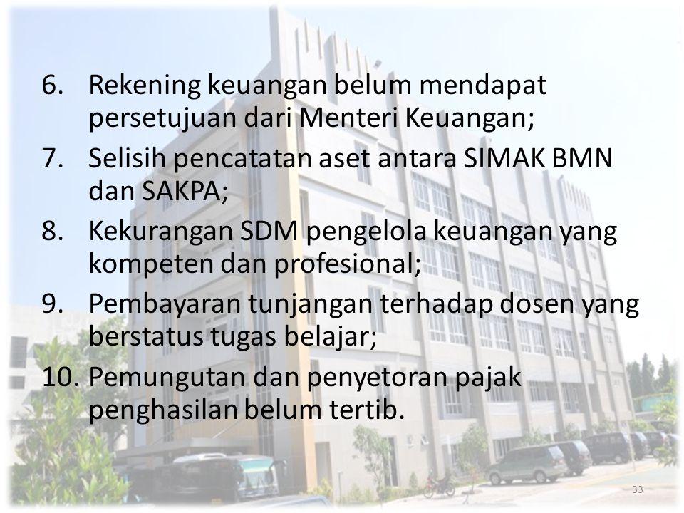 6.Rekening keuangan belum mendapat persetujuan dari Menteri Keuangan; 7.Selisih pencatatan aset antara SIMAK BMN dan SAKPA; 8.Kekurangan SDM pengelola