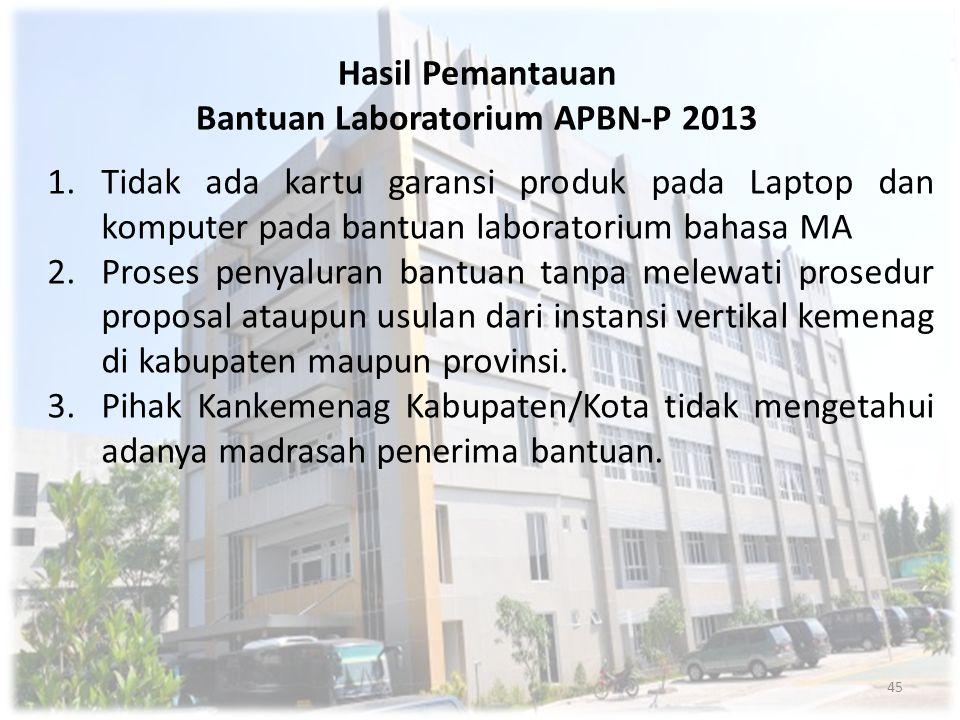 Hasil Pemantauan Bantuan Laboratorium APBN-P 2013 1.Tidak ada kartu garansi produk pada Laptop dan komputer pada bantuan laboratorium bahasa MA 2.Pros