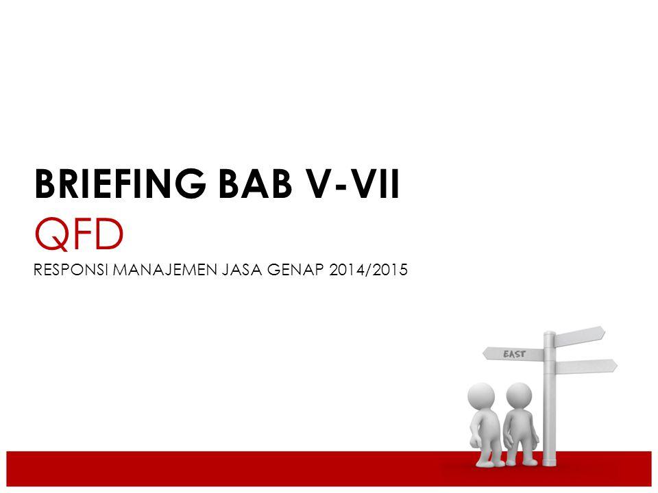 BRIEFING BAB V-VII QFD RESPONSI MANAJEMEN JASA GENAP 2014/2015