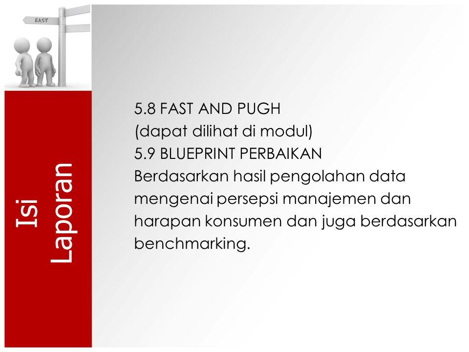 Isi Laporan 5.8 FAST AND PUGH (dapat dilihat di modul) 5.9 BLUEPRINT PERBAIKAN Berdasarkan hasil pengolahan data mengenai persepsi manajemen dan harapan konsumen dan juga berdasarkan benchmarking.