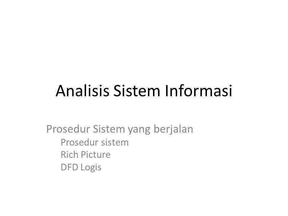 Analisis Sistem Informasi Prosedur Sistem yang berjalan Prosedur sistem Rich Picture DFD Logis