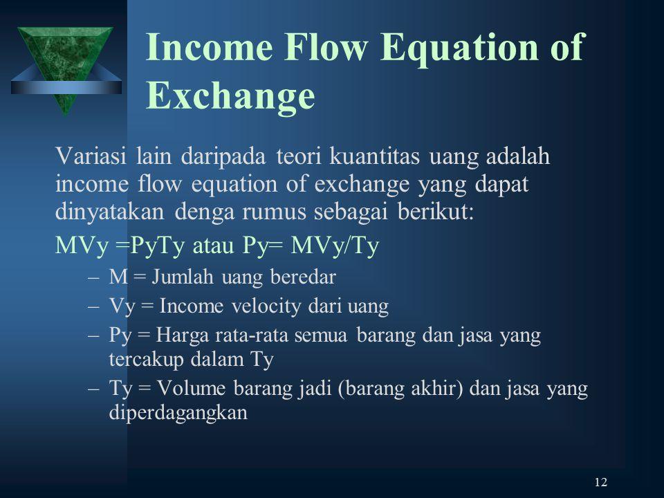 12 Income Flow Equation of Exchange Variasi lain daripada teori kuantitas uang adalah income flow equation of exchange yang dapat dinyatakan denga rumus sebagai berikut: MVy =PyTy atau Py= MVy/Ty –M = Jumlah uang beredar –Vy = Income velocity dari uang –Py = Harga rata-rata semua barang dan jasa yang tercakup dalam Ty –Ty = Volume barang jadi (barang akhir) dan jasa yang diperdagangkan