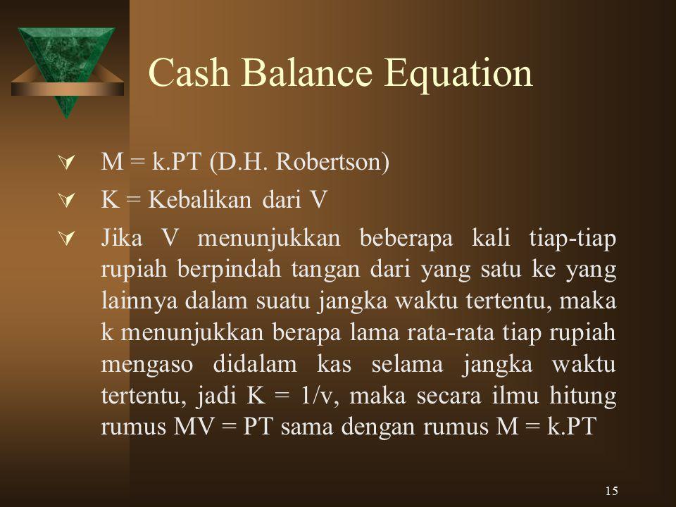 15 Cash Balance Equation  M = k.PT (D.H. Robertson)  K = Kebalikan dari V  Jika V menunjukkan beberapa kali tiap-tiap rupiah berpindah tangan dari
