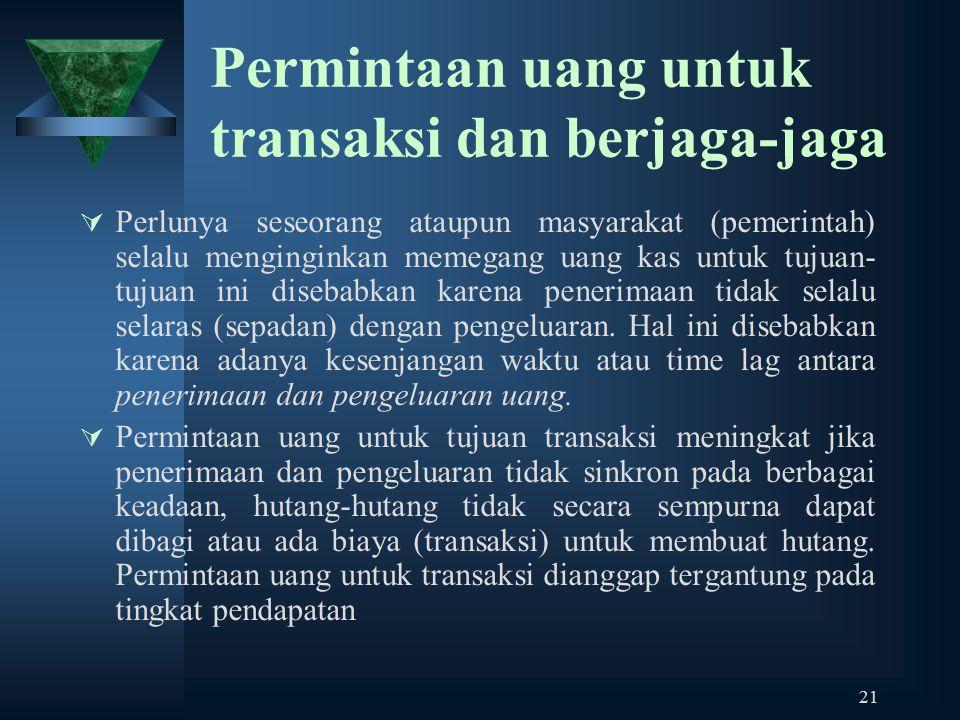 21 Permintaan uang untuk transaksi dan berjaga-jaga  Perlunya seseorang ataupun masyarakat (pemerintah) selalu menginginkan memegang uang kas untuk t