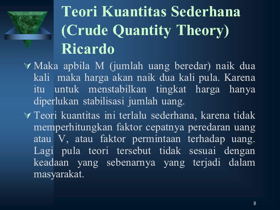 8 Teori Kuantitas Sederhana (Crude Quantity Theory) Ricardo  Maka apbila M (jumlah uang beredar) naik dua kali maka harga akan naik dua kali pula. Ka