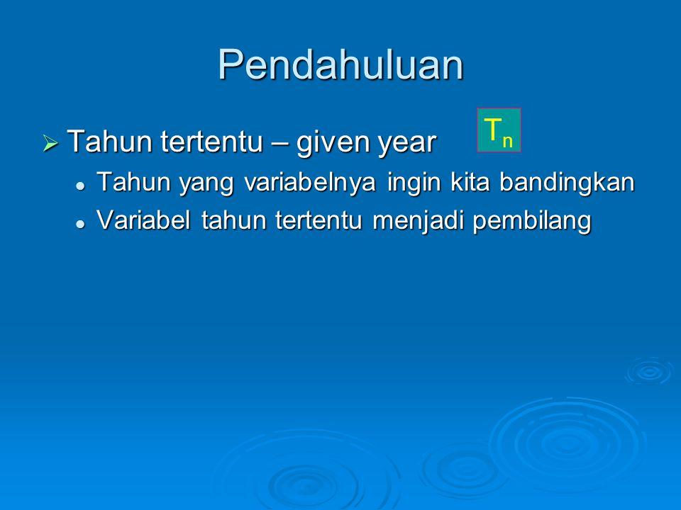 Pendahuluan  Tahun tertentu – given year Tahun yang variabelnya ingin kita bandingkan Tahun yang variabelnya ingin kita bandingkan Variabel tahun ter