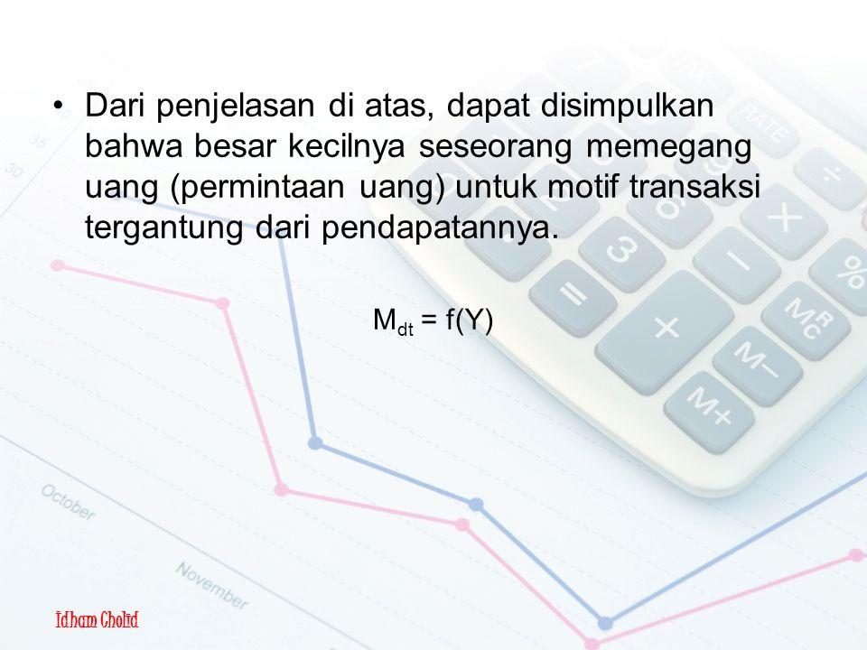 Idham Cholid Motif Transaksi Dari penjelasan di atas, dapat disimpulkan bahwa besar kecilnya seseorang memegang uang (permintaan uang) untuk motif transaksi tergantung dari pendapatannya.