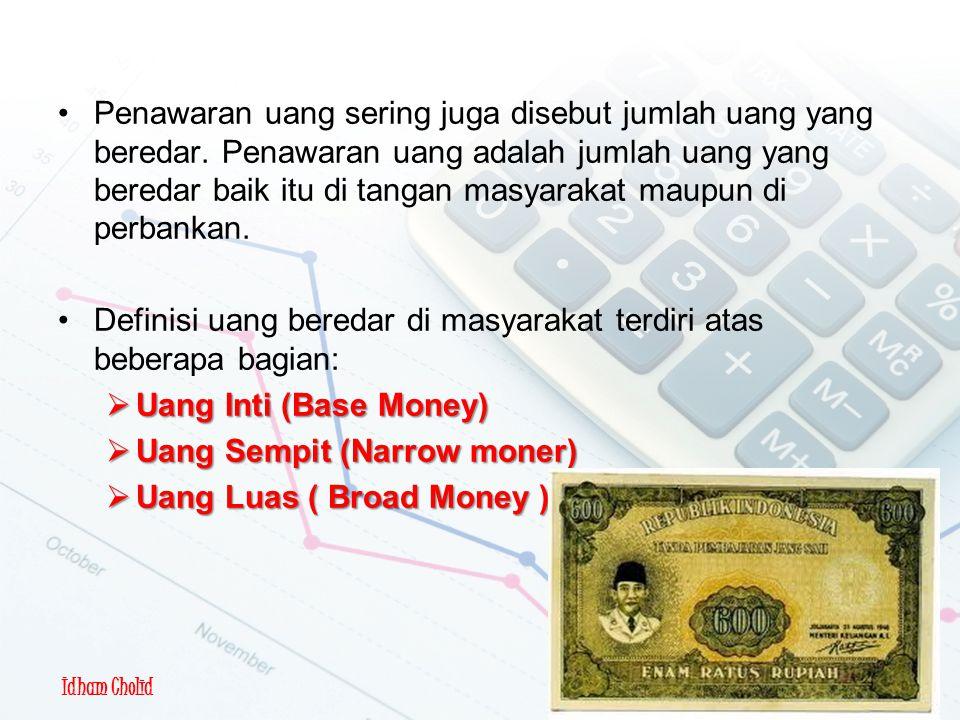 Idham Cholid Penawaran Uang Penawaran uang sering juga disebut jumlah uang yang beredar. Penawaran uang adalah jumlah uang yang beredar baik itu di ta