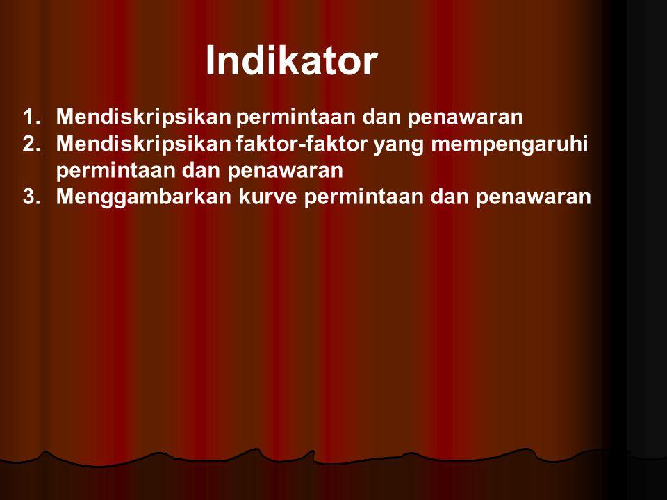 Indikator 1.Mendiskripsikan permintaan dan penawaran 2.Mendiskripsikan faktor-faktor yang mempengaruhi permintaan dan penawaran 3.Menggambarkan kurve
