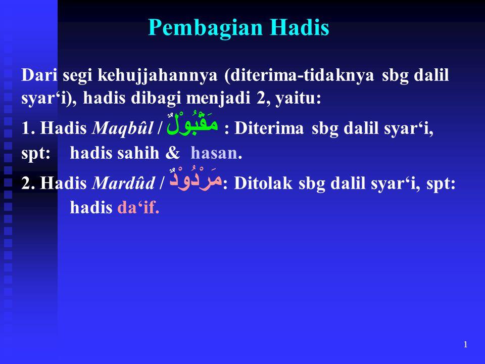 1 Pembagian Hadis Dari segi kehujjahannya (diterima-tidaknya sbg dalil syar'i), hadis dibagi menjadi 2, yaitu: 1. Hadis Maqbûl / مَقْبُوْلٌ : Diterima