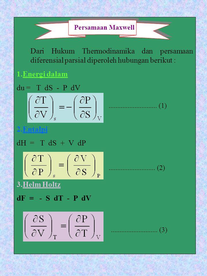 Dari Hukum Thermodinamika dan persamaan diferensial parsial diperoleh hubungan berikut : 1.Energi dalam du = T dS - P dV 2.Entalpi dH = T dS + V dP 3.