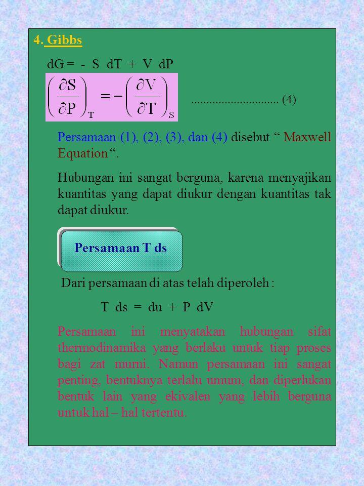 """4. Gibbs dG = - S dT + V dP Persamaan (1), (2), (3), dan (4) disebut """" Maxwell Equation """". Hubungan ini sangat berguna, karena menyajikan kuantitas ya"""
