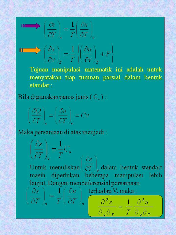 Tujuan manipulasi matematik ini adalah untuk menyatakan tiap turunan parsial dalam bentuk standar : Bila digunakan panas jenis ( C v ) : Maka persamaa