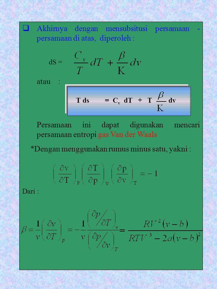 AA khirnya dengan mensubsitusi persamaan - persamaan di atas, diperoleh : atau : Persamaan ini dapat digunakan mencari persamaan entropi gas Van der