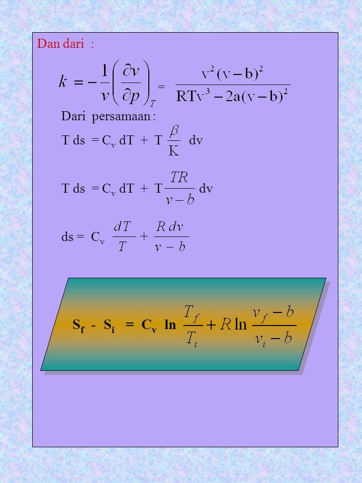 Dan dari : Dari persamaan : T ds = C v dT + T dv T ds = C v dT + T dv ds = C v = S f - S i = C v ln