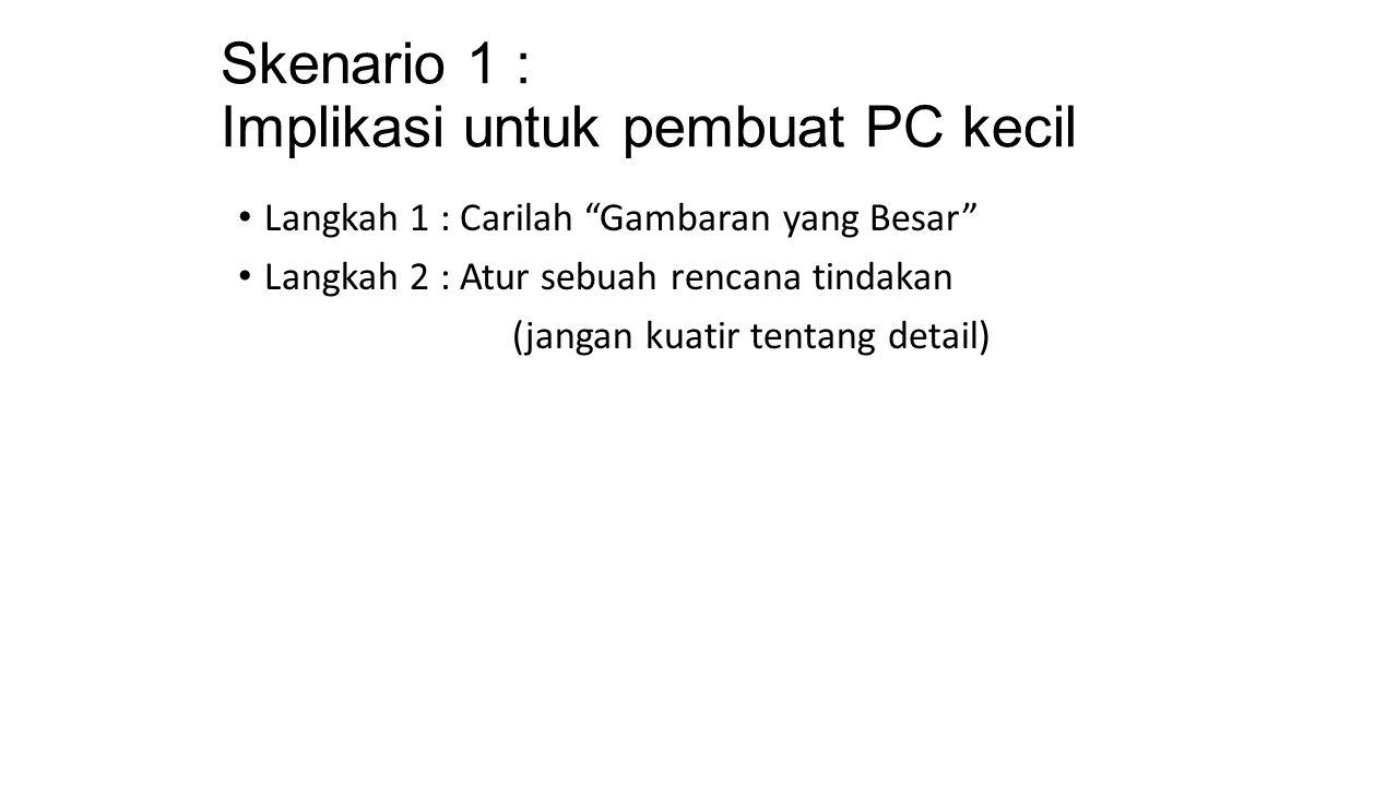 Skenario 1 : Implikasi untuk pembuat PC kecil Langkah 1 : Carilah Gambaran yang Besar Langkah 2 : Atur sebuah rencana tindakan (jangan kuatir tentang detail)