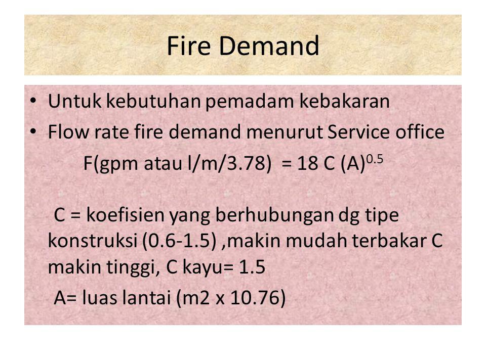 Fire Demand Untuk kebutuhan pemadam kebakaran Flow rate fire demand menurut Service office F(gpm atau l/m/3.78) = 18 C (A) 0.5 C = koefisien yang berh