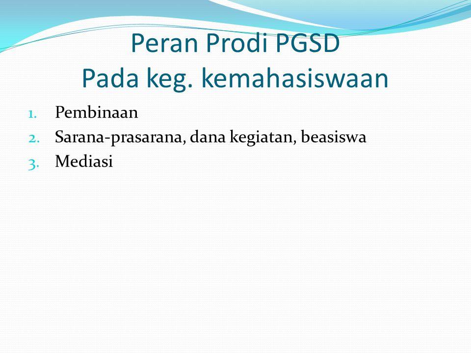 Peran Prodi PGSD Pada keg. kemahasiswaan 1. Pembinaan 2. Sarana-prasarana, dana kegiatan, beasiswa 3. Mediasi