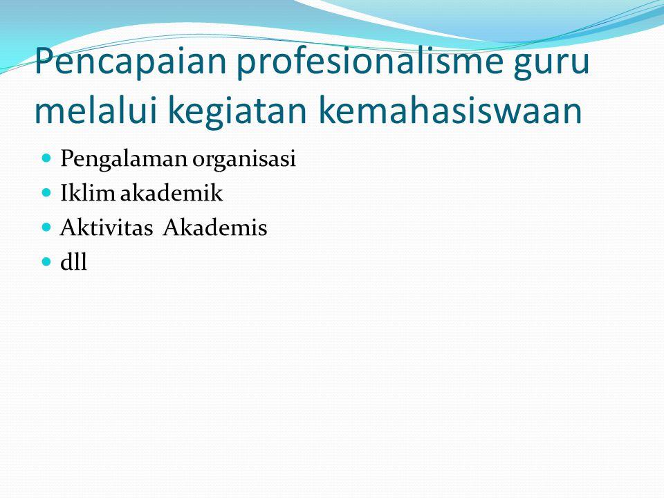 Pencapaian profesionalisme guru melalui kegiatan kemahasiswaan Pengalaman organisasi Iklim akademik Aktivitas Akademis dll