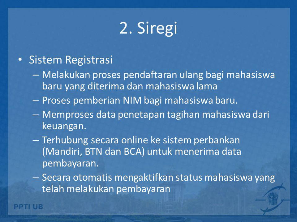 2. Siregi Sistem Registrasi – Melakukan proses pendaftaran ulang bagi mahasiswa baru yang diterima dan mahasiswa lama – Proses pemberian NIM bagi maha