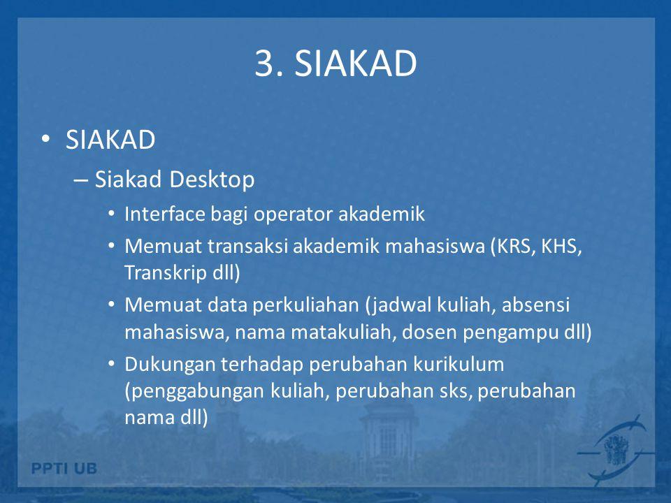 3. SIAKAD SIAKAD – Siakad Desktop Interface bagi operator akademik Memuat transaksi akademik mahasiswa (KRS, KHS, Transkrip dll) Memuat data perkuliah