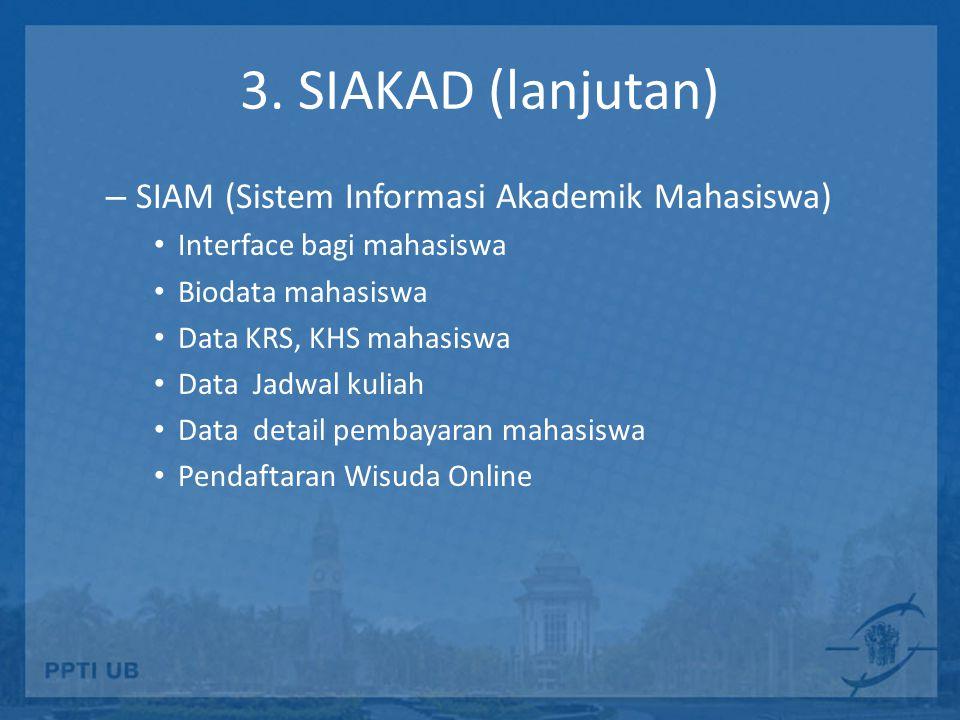 3. SIAKAD (lanjutan) – SIAM (Sistem Informasi Akademik Mahasiswa) Interface bagi mahasiswa Biodata mahasiswa Data KRS, KHS mahasiswa Data Jadwal kulia