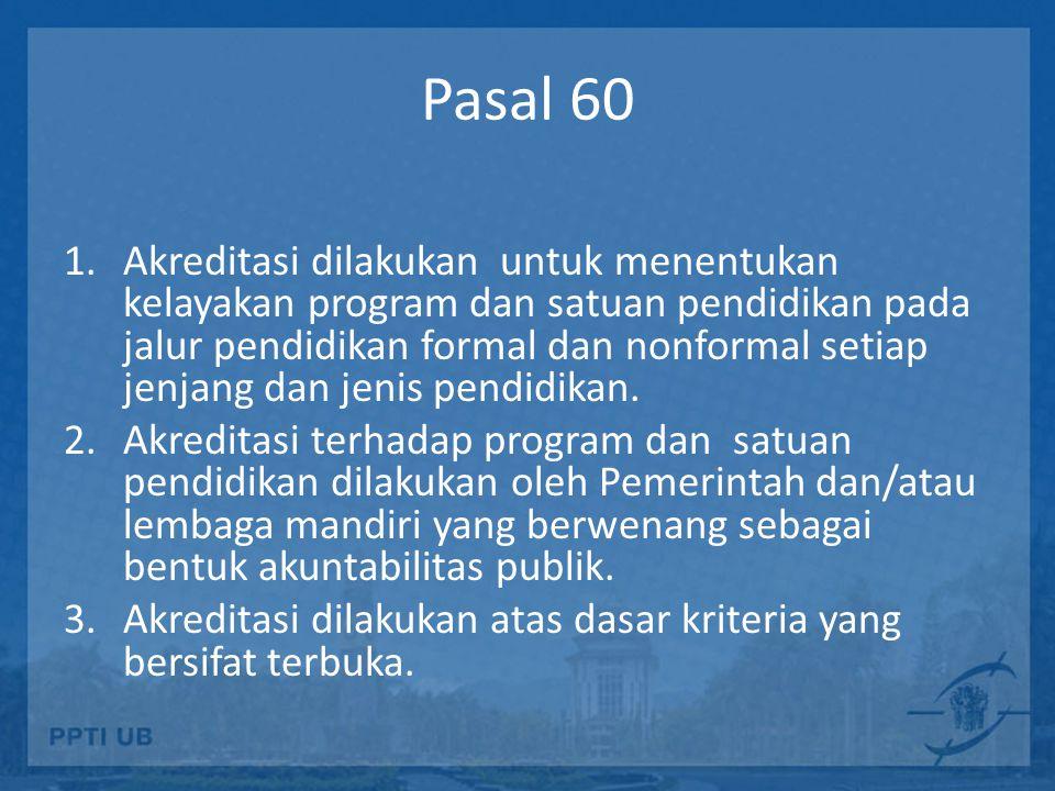 Pasal 60 1.Akreditasi dilakukan untuk menentukan kelayakan program dan satuan pendidikan pada jalur pendidikan formal dan nonformal setiap jenjang dan