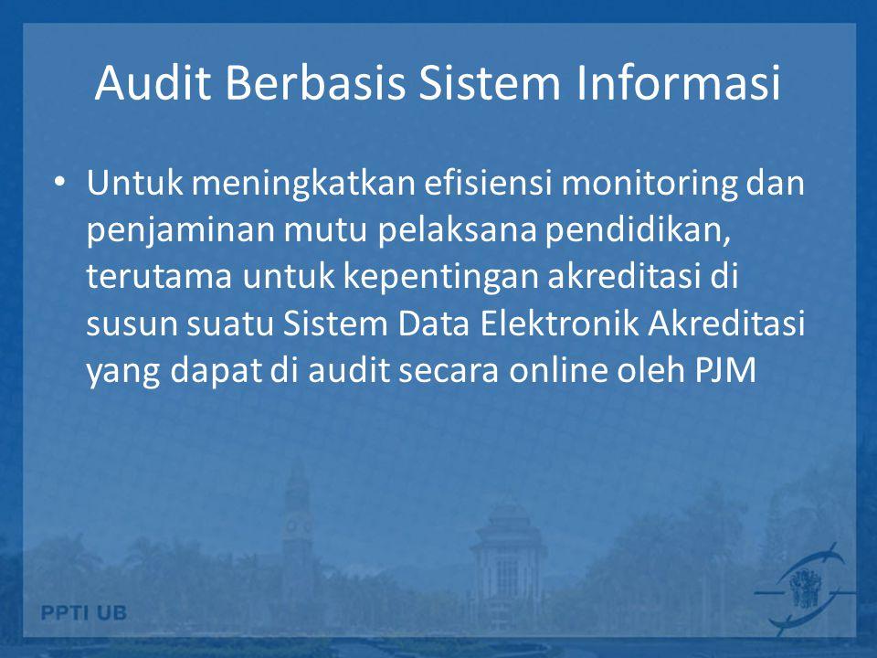 Audit Berbasis Sistem Informasi Untuk meningkatkan efisiensi monitoring dan penjaminan mutu pelaksana pendidikan, terutama untuk kepentingan akreditasi di susun suatu Sistem Data Elektronik Akreditasi yang dapat di audit secara online oleh PJM