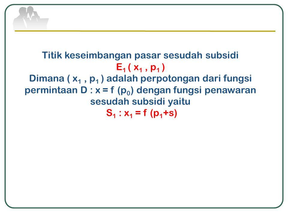 Titik keseimbangan pasar sesudah subsidi E 1 ( x 1, p 1 ) Dimana ( x 1, p 1 ) adalah perpotongan dari fungsi permintaan D : x = f (p 0 ) dengan fungsi