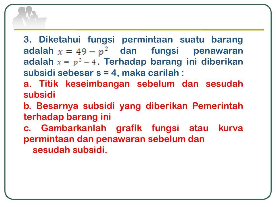 3. Diketahui fungsi permintaan suatu barang adalah dan fungsi penawaran adalah. Terhadap barang ini diberikan subsidi sebesar s = 4, maka carilah : a.