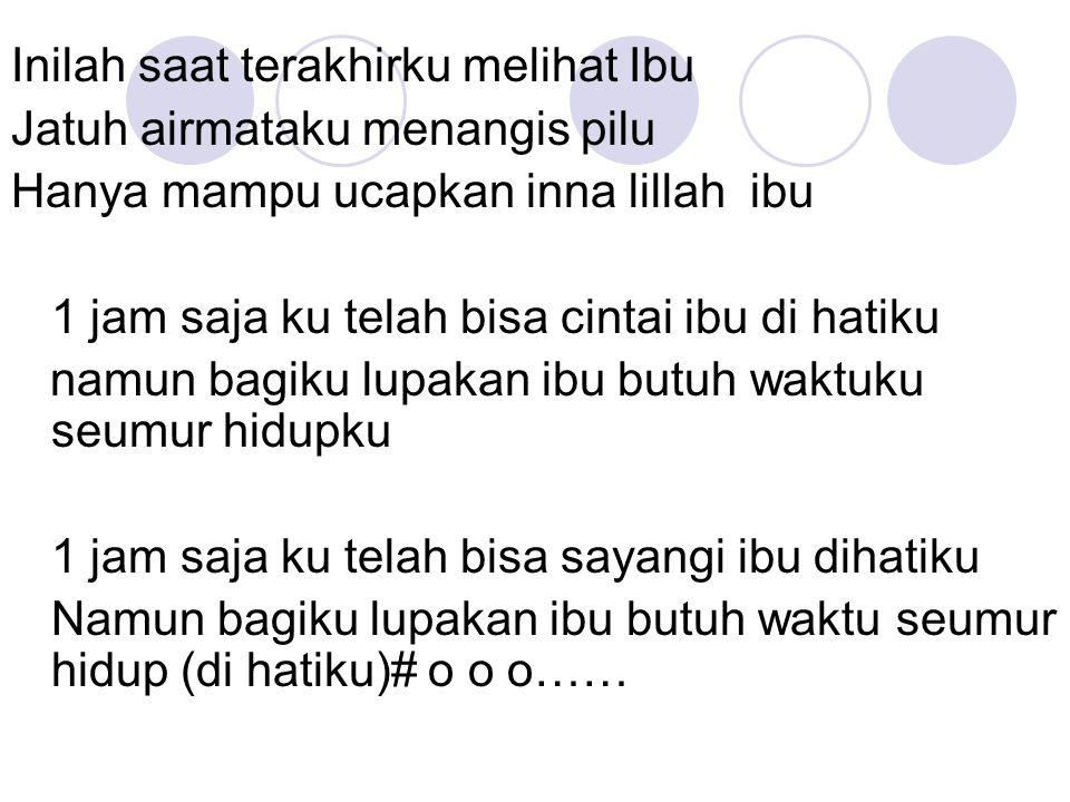 Sempurna Kau begitu sempurna,ayat-ayatMu begitu indah Kau membuat diriku akan slalu memujaMu Janganlah kita tak pernah baca, apalagi sampai melupakannya hanya dia kitapun bisa Kau adalah kitabku, kau adalah syairku Kau adalah hidupku, lengkapi diriku Oh Al Quran yg begitu sempurna