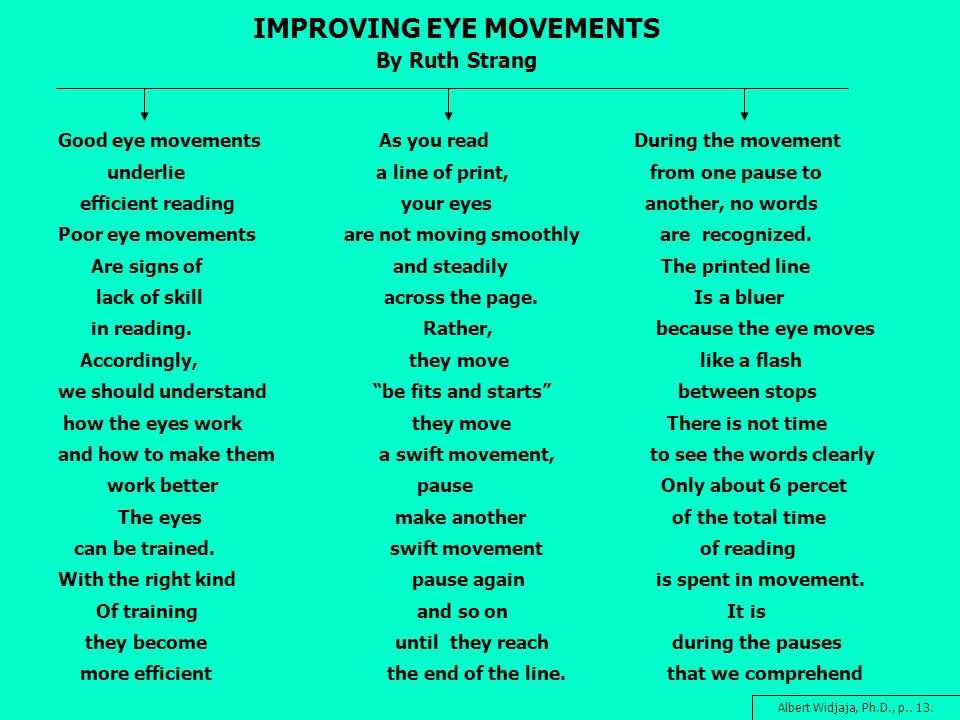 IMPROVING EYE MOVEMENTS By Ruth Strang Good eye movements As you readDuring the movement underlie a line of print, from one pause to efficient reading