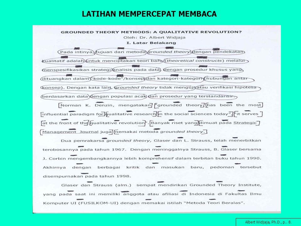LATIHAN MEMPERCEPAT MEMBACA Albert Widjaja, Ph.D., p.. 8.