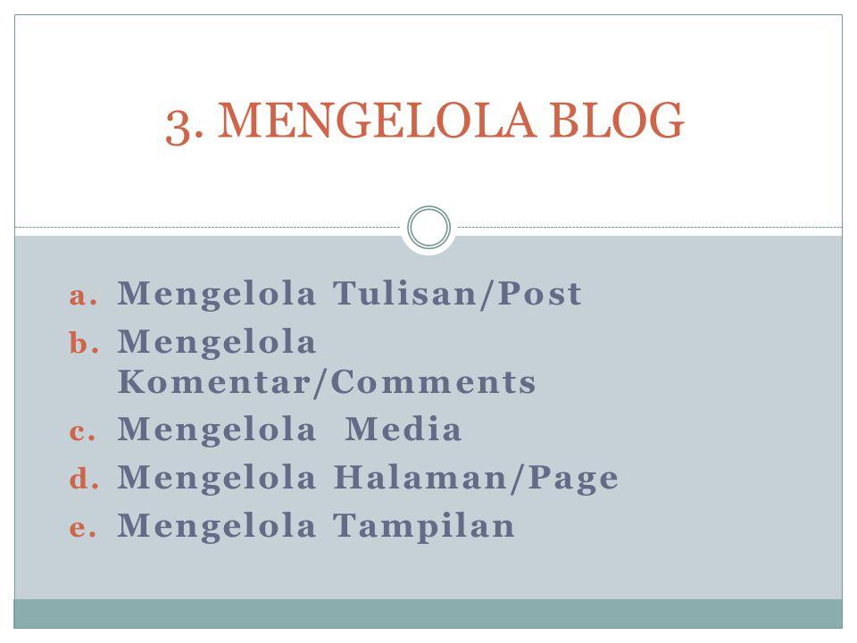 a.Mengelola Tulisan/Post b. Mengelola Komentar/Comments c.