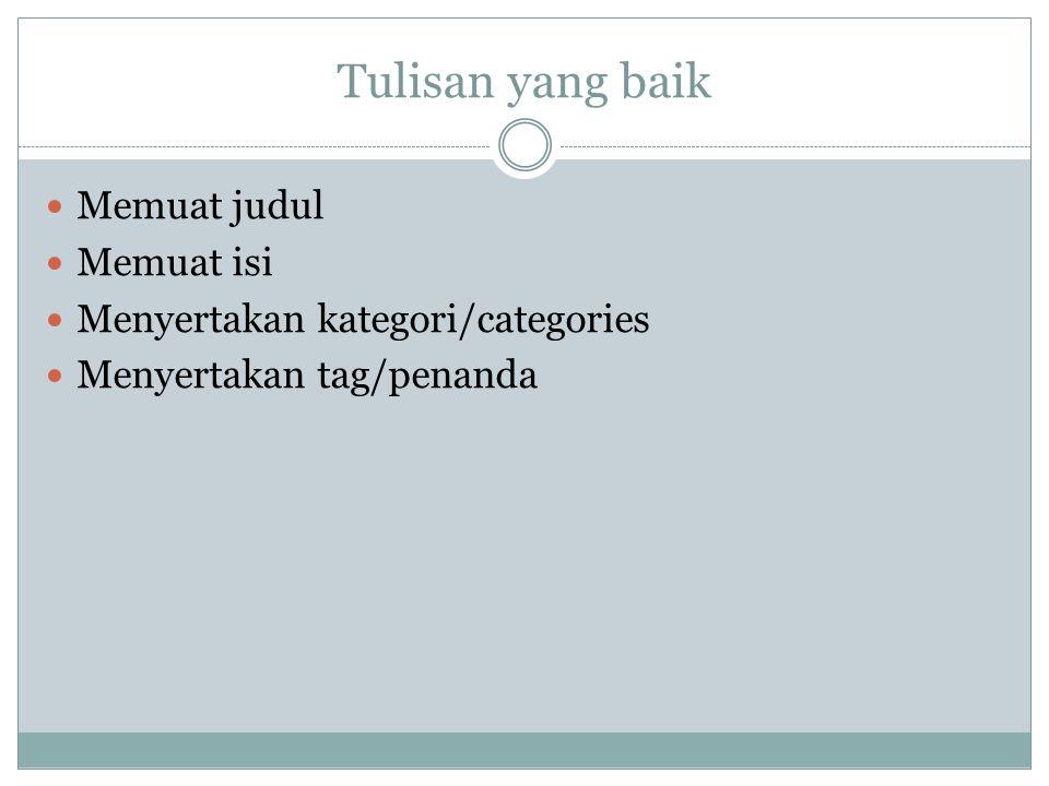 Tulisan yang baik Memuat judul Memuat isi Menyertakan kategori/categories Menyertakan tag/penanda