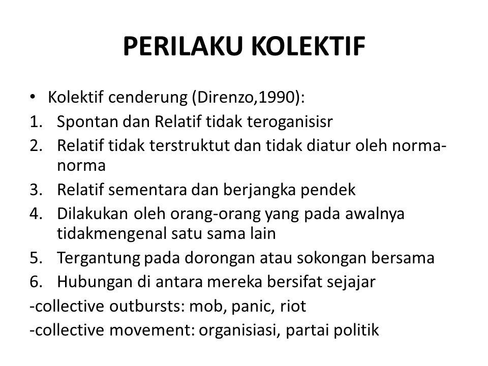 PERILAKU KOLEKTIF Kolektif cenderung (Direnzo,1990): 1.Spontan dan Relatif tidak teroganisisr 2.Relatif tidak terstruktut dan tidak diatur oleh norma-