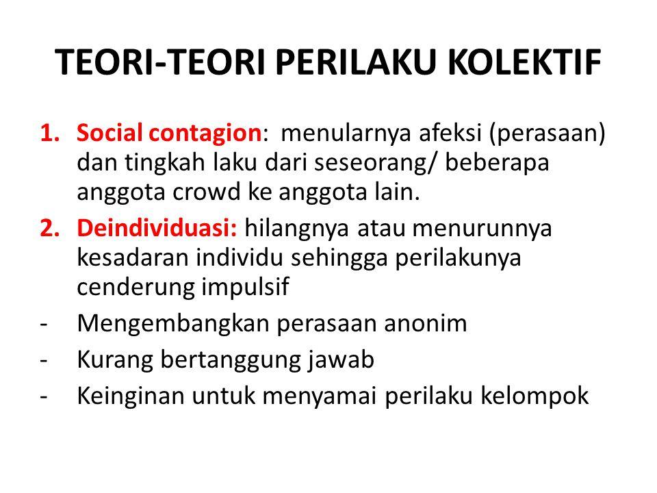 TEORI-TEORI PERILAKU KOLEKTIF 1.Social contagion: menularnya afeksi (perasaan) dan tingkah laku dari seseorang/ beberapa anggota crowd ke anggota lain